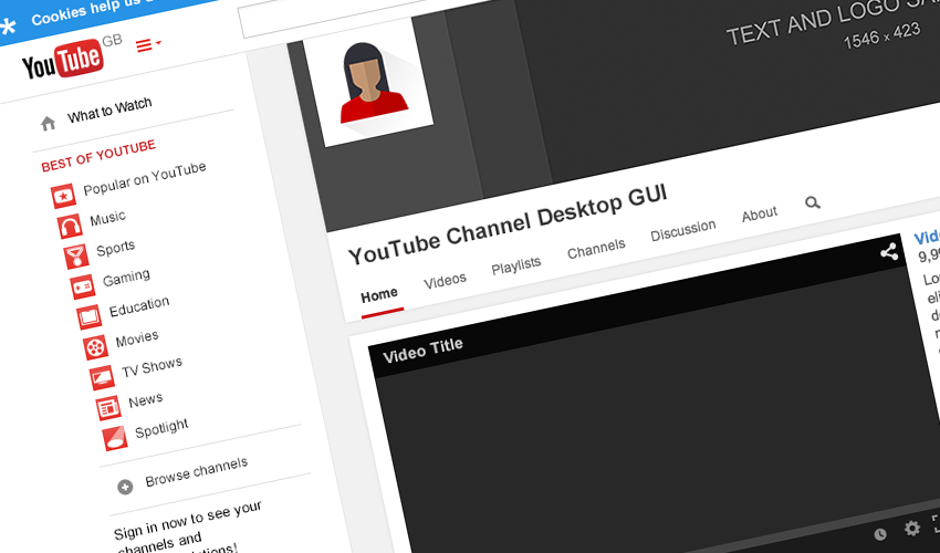 youtube channel gui psd template